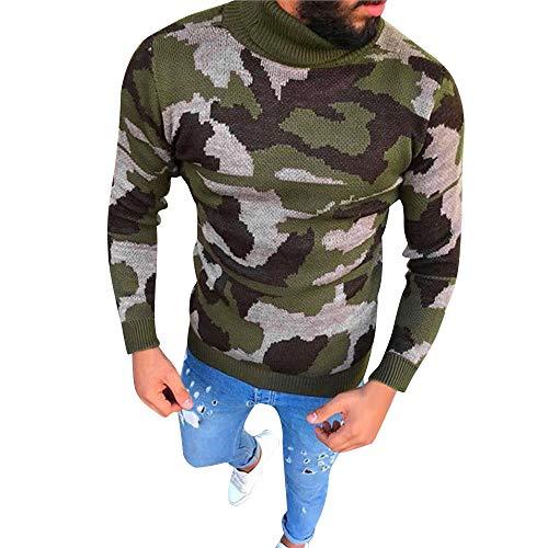 Felicove Herren Strickpullover Feinstrick Pullover Männer Bodycon Lässige Camouflage Strick Rollkragenpullover Top Bluse Aus 100% Baumwolle Outdoor Sweatshirt Winter Outerwear