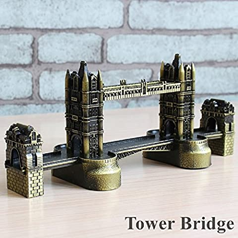K&C Vintage Bronze London Tower Bridge Landmarks Construction Metal Building Model Desktop Ornament Decoration
