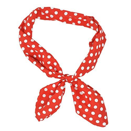 LUX Zubehör Rot Weiß Polka Dot Krawatte Haarband Head Band (Teenage Kostüm Schmuck)