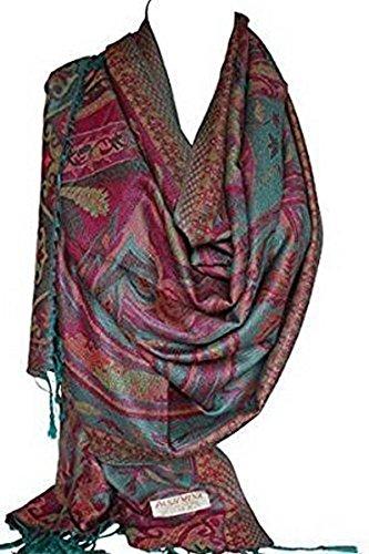 Schöne Paisley ethnischen Print Pashmina Gefühl Wrap Schal Schal Schals Hijab in satte Farben (Sea Grün) (Schal Für Hijab)