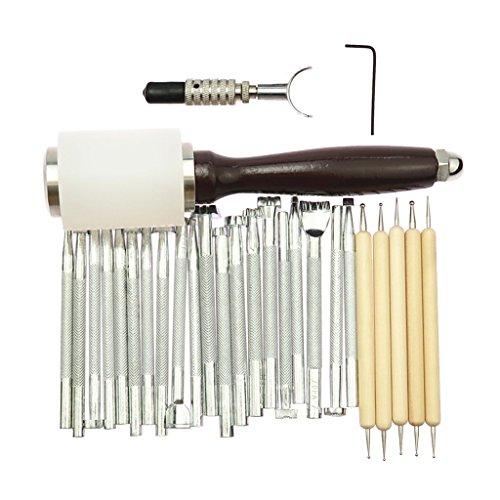 Hellery 27tlg Leder Werkzeug Leather Craft Hand Sewing Stitching Hammer Prägung Tool Set Professionelle Werkzeuge für Lederverarbeitung