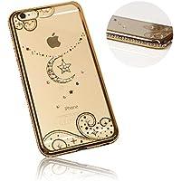 Xtra-Funky Serie iPhone 5 / 5S / 5C / SE Sottile Custodia in Silicone con Cristallo Scintillante Bordatura & la Luna e le Stelle - Oro