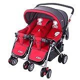 Guo Poussette Twins Trolleys peut être plié à deux voies Sit Can Be nourrissons et les jeunes enfants Poussette Double (rouge)