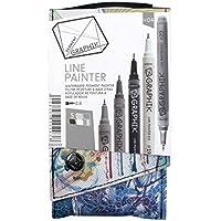 Derwent Graphik Line Painter Coloured Pens - Palette No.4, Pack of 5