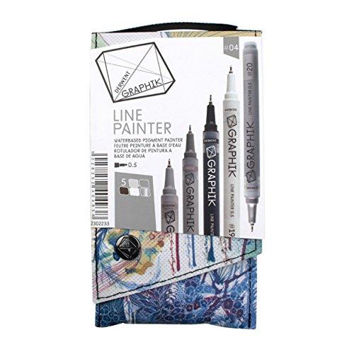 Derwent Graphik Line Painter bunte Fineliner, Palette Nr. 1, 5Stück 5 Jungle, Graphite, Magic,...