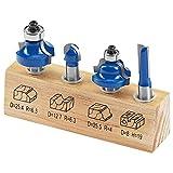 LUX-TOOLS HM Oberfräser-Set, 4-teilig | Fräser-Set inkl. Nutfräser mit 8mm Ø, Doppel-Radienfräser mit 25,5mm Ø, Kugelfräser mit 12,7mm Ø & Abrundfräser mit 22mm Ø und 8mm Schaft