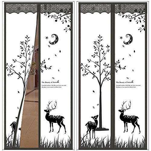 FWML Sommer Plaid Deer Hands-Free Magnetic Tür Fliegengitter Anti Moskitonetz Vorhang @ 1_90_by_210Cm - Vorhänge Küche Plaid