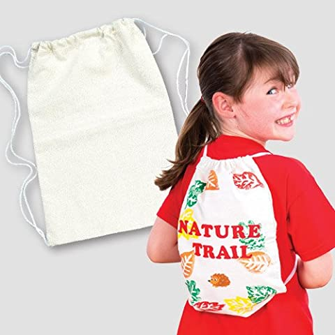 Plain Calico Drawstring Backpack 34cm x 23cm for Children to Personalise, Paint & Decorate Sports Bag (Pack of