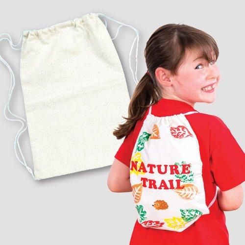 Kordelzug-Rucksäcke (34cm x 23cm) für Kinder zum Bemalen, Gestalten und Tragen, ideal als Sporttasche - (2 Stück) (Do It Yourself Kostüme)