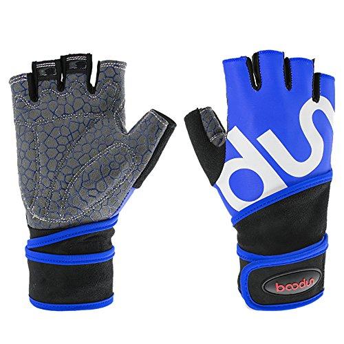 Leezo Breathable Verschleißfeste Anti-Rutsch-Ausrüstung Training Sport Handschuhe Fitness-Übung Workout Gewichtheben Handschuhe mit Wrist Wrap Support