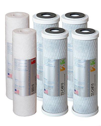 apec filter-setx2uns Made 2Sets doppelte Kapazität Ersatz Vorfilter SET für Ultimate Serie Umkehrosmose Wasser Filter System Stage 1, 2& 3, 2Stück Sediment und 4Carbon schwarz Filter (Umkehrosmose-system Serie)
