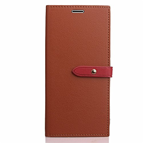 Business Style Mixed Farben Slim Design PU Ledertasche Brieftasche Stand Case [Shockproof] mit Niet Echtes Leder Gürtel & Kickstand & Card Slots für Motorola Moto G5 ( Color : Gray ) Brown
