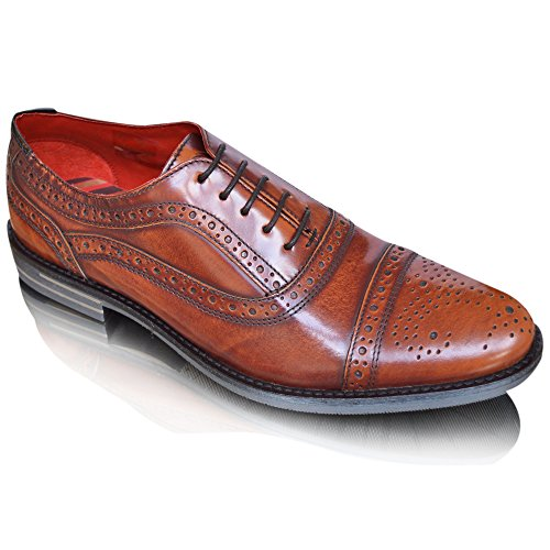 Base London Mens Waltham 100% Leather Wingtip Lace-Up Formal Dress Wedding Party Business Office Brogue Shiny Shoes UK Size 6 – 12 (8 UK / 42 EU, Tan)