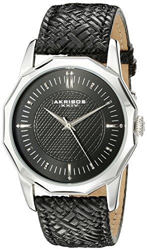 Akribos XXIV Hommes de montre à quartz avec affichage analogique et bracelet en cuir noir cadran noir ak825ssb