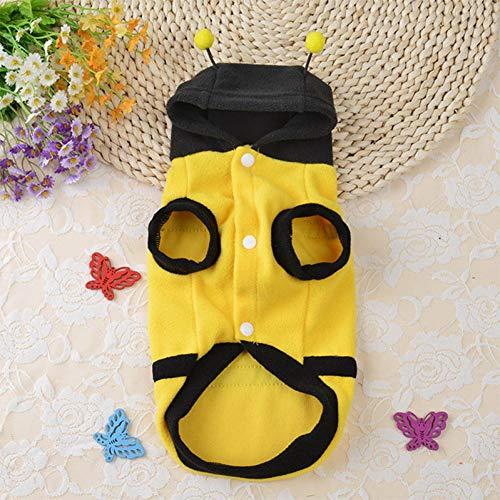 DOGCATMM Halloween Cosplay Hund Kleidung Biene Hund Kostüm Hunde Hoodie Haustier Kleidung Für Kleine Hunde Welpen Outfit Pet Bekleidung Ropa - Kleinen Hunde Biene Kostüm
