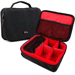 DURAGADGET Sacoche modulable pour Enceintes Philips BT50, Anker Soundcore Boost and Zenbre F3 Enceinte Portable+ Accessoires - Noir/Rouge