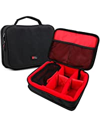 DURAGADGET Bolsa acolchada profesional negra con compartimentos e interior en rojo para Hatteker Turbo 2-Speed / Philips HP6540/00 , Philips MG3740/15 / Braun Series 5 5197cc, Braun Silk-épil 5 Power 5-329
