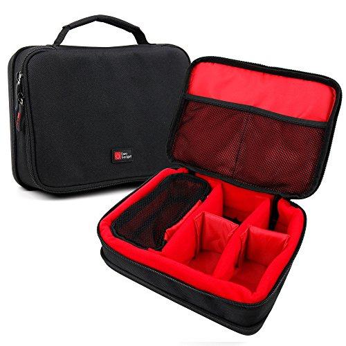 DURAGADGET Bolsa Acolchada Profesional con Compartimentos e Interior en Rojo para cámaras Deportivas Sony HDR-AS50 / Kaiser Baas X150 Color Negro.