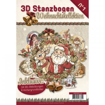 3D Stanzbogen Buch A4 Weihnachten Nr.1 - 24 3D Motiv & 8 Hintergrundpapiere
