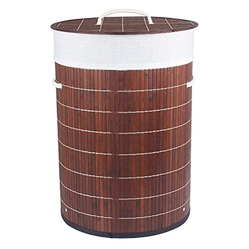 HomeStorie™ Foldable Bamboo Laundry Basket Hamper with Lid, Large – 57 Liter