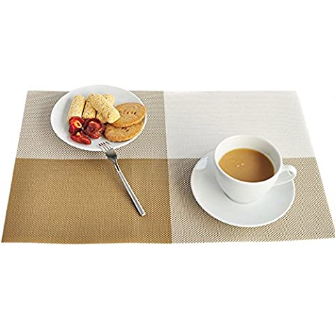 TININNA Anti-dérapant Gradient PVC Set de Placemats Dining Table Mat Cuisine Napperons Set of 4 Or