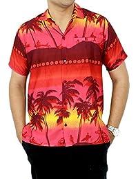 La Leela croisière île bouton hawaïen bas manches courtes classiques xs chemise rouge de aloha hommes - 5xl