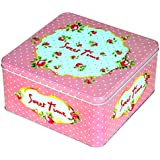 Enwraps Pink Medium Sweet Time Dots Square Multipurpose Metal/Tin Utility Box For Home/Kitchen/Wedding/Casual Gift. LBH(inches)-7x7x4