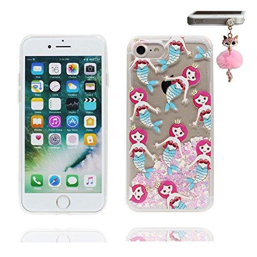 """iPhone 7 Coque, Lis Lily Skin Hard Clear étui iPhone 7, Design Glitter Bling Sparkles Shinny Flowing Apple iPhone 7 Case Cover 4.7"""", résistant aux chocs et Bouchon anti-poussière Princesse sirène"""