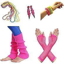 5450ab925 Amaza Disfraz Años 80 Mujer Accesorios Guantes Calentadores Collares  Pendientes Pulseras (Multicolor)