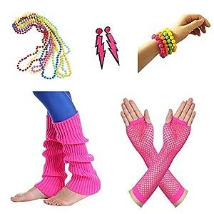 Amaza 80er Damen Neon Beinstulpen Halsketten Fischnetz Handschuhe Ohrringe Armbänder Verkleiden Kostüme