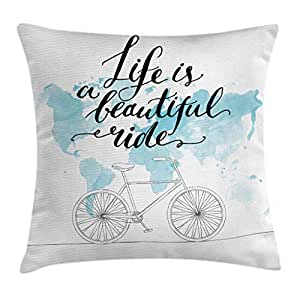 Buy Ambesonne Bicycle Throw Pillow Cushion Cover Inspirational Cycling With World Map Reflection Motivational Sports Illustration Decorative Square Accent Pillow Case 20 X 20 Inches Blue White Online At Low Prices In