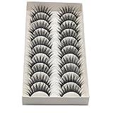 VNEIRW 10 Pair False Eyelashes Set Long Black Natural Cross Thick Party 3D Pro Fake Eye Lashes (10 pair, Black)