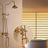 Financiale Carving Retro-Stil Luxus massives Messing Duscharmatur Gold Bad Wand-Einhebel-Mischventil regt Dusche