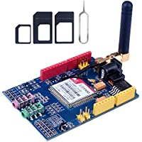 Kuman SIMCOM SIM900 GSM GPRS Quad-Band Modules 2G Development Shield Board for Arduino UNO R3 Mega with antenna and Nano Sim Adapter