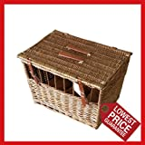 Wicker Pet Carrier for cat, dog, Moden design with windows (Large)
