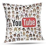 RCXrBFE Taie d'oreiller, 45 x 45 cm Youtube Logo Housse de Coussin pour Housse d'oreiller à imprimé Double côtés Fermeture à glissière dissimulée, Pillow Case Taille 18'X18' (A)