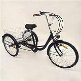 YIYIBY Erwachsenendreirad,Dreirad Für Erwachsene Lastenfahrrad Erwachsenendreirad Seniorenrad Zum Einkaufen Einstellbar 26