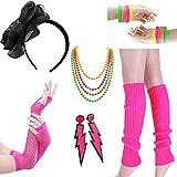 LADES 80er Jahre Kostüm Zubehör - Damen 80er Party Kostüm Zubehör Neon Halsketten Stirnband Beinlinge Perlen Halsketten Armbänder Fischnetz Handschuhe für Mädchen Frauen Night Out Party