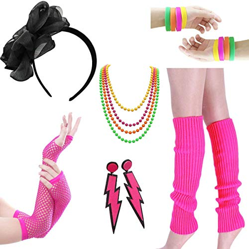 LADES 80er Jahre Kostüm Zubehör - Damen 80er Party Kostüm Zubehör Neon Halsketten Stirnband Beinlinge Perlen Halsketten Armbänder Fischnetz Handschuhe für Mädchen Frauen Night Out ()