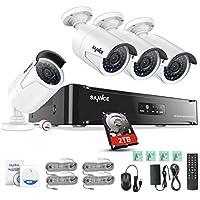 SANNCE Überwachungskamera Set 4CH 1080P Videoüberwchung POE NVR Rekorder mit 4x2.0MP IP Kamera und 2TB HDD,IP66 Übwerwchungssystem für Haus Innen Außen Sicherheit mit Nachtsicht