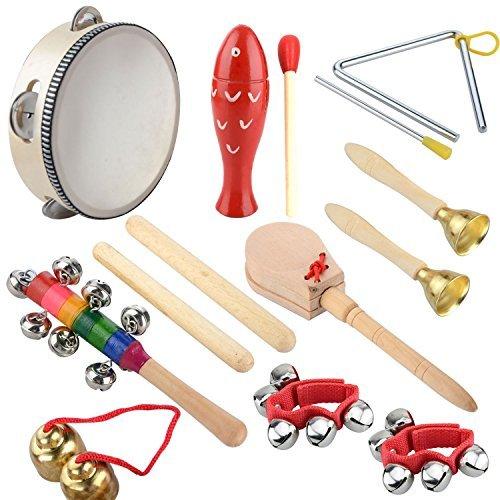 Holz Kinder Percussion, 14 Stück Musikinstrumente Kinder Set Schlagzeug Spielzeuge Rhythmus Band Set Instrument Toys Werkzeuge für Kindergarten schönes Kinder und Baby