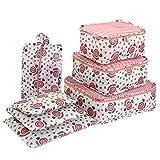Organizzatore dell'imballaggio del bagaglio di corsa, insieme impermeabile dei cubi dell'imballaggio stampato fiore, borse di stoccaggio delle scarpe di vestiti (set di 7)