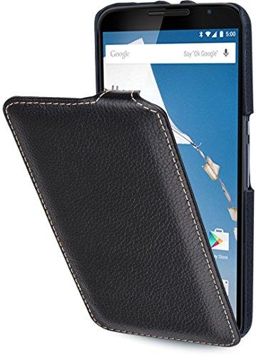 StilGut UltraSlim Case - ohne Magnet-, Hülle aus Leder für Google Nexus 6 & Motorola Nexus 6, schwarz