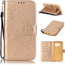 Uming® Embossed gaufrage Papillon Fleur Bloom spéciales Séries Motif Colorful Imprimer cas PU Holster Case Etui ( Gold - pour IPhone6SPlus IPhone 6SPlus 6Plus IPhone6Plus ) Artificial-cuir flip avec support Stander titulaire de la carte de crédit fente Wallet Magnet Moraillon Bouton Shell de protection Mobile Cell Phone Cover Bag
