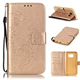 Uming® Embossed Embossing Butterfly Flower Bloom Print Pattern Colorful Holster Cover Case ( Gold - for IPhone 7Plus IPhone7Plus ) Artificial-leather Flip with Bracket Stander Holder Credit Card Slot Wallet Hasp Magnet Button Shell Protective Mobile Cellphone Cover Bag