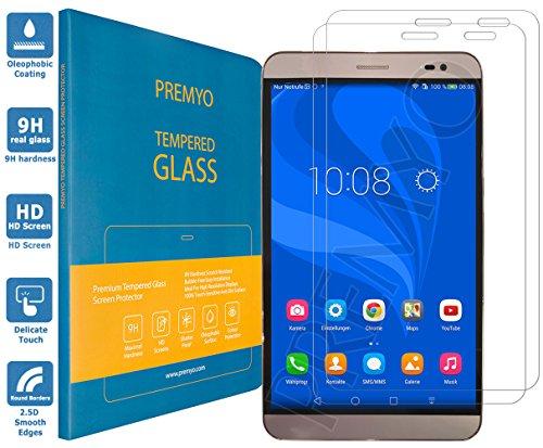 PREMYO 2 Stück Panzerglas Schutzglas Bildschirmschutzfolie Folie kompatibel für Huawei MediaPad X2 7.0 HD-Klar 9H Anti Kratzer Blasen Fingerabdrücke