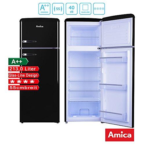 Amica Retro Kühl-Gefrierkombination Schwarz KGC 15634 S A 213 Liter mit **** Gefrierfach Black Olives