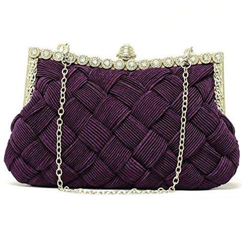 ERGEOB® Donna Clutch sacchetto di sera borsetta Clutch piccola rasotaschino Banchetto taschino matrimonio taschino sacchetto tessuto porpora