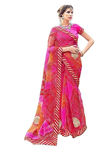 V's Fashion Point Supernet Artsilk sarees (Red-Multi)