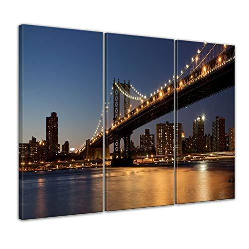 Wandbild - New York Bridge - Bild auf Leinwand - 90 x 60 cm 3tlg - Leinwandbilder - Bilder als Leinwanddruck - Städte & Kulturen - Amerika - USA - Brooklyn Bridge am Abend -